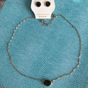 NWT Black Stone Earrings and Necklace Set